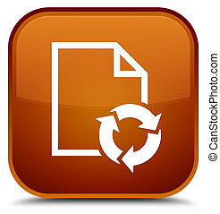Document process icon special brown square button