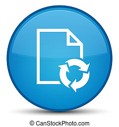 Document process icon special cyan blue round button