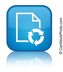 Document process icon special cyan blue square button