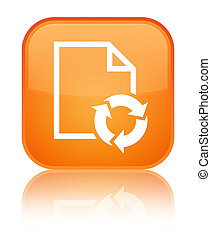 Document process icon special orange square button