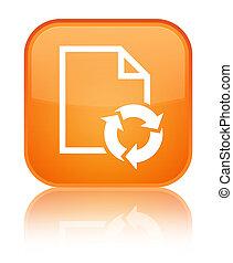 Document process icon special orange square button