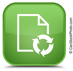Document process icon special soft green square button