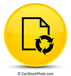 Document process icon special yellow round button