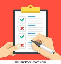 document, qualité, vecteur, tenue, formulaire, contrôle, design., illustration, rouge vert, presse-papiers, pen., enquête, papier, chèque, main, crosses., rapport, plat, liste, marques, liste contrôle, concepts.