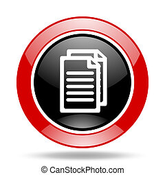 document red and black web glossy round icon