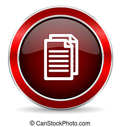 document red circle glossy web icon, round button with metallic border