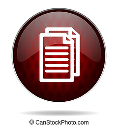 document red glossy web icon on white background