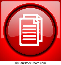 document red icon plastic glossy button