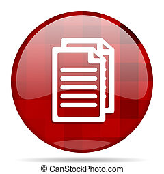 document red round circle glossy modern design web icon
