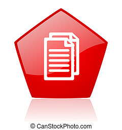 document red web glossy icon