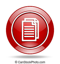 document red web glossy round icon