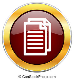 Document red web icon with golden border isolated on white background. Round glossy button.