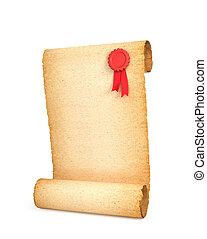 document rol, render, seal., vrijstaand, oud, 3d, witte , achtergrond.