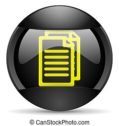 document round black web icon on white background