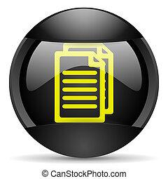 document round black web icon on white background