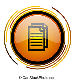 document round design orange glossy web icon