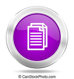 document round glossy pink silver metallic icon, modern design web element