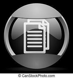 document round gray web icon on black background