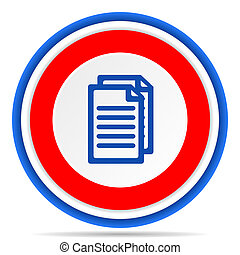 Document round icon, red, blue and white french design illustration for web, internet and mobile applications