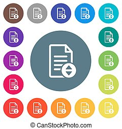 Document scrolling flat white icons on round color backgrounds
