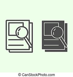 Document search line and solid icon. Audit Files and loupe on papers outline style pictogram on white background. Magnifying glass over documents for mobile concept and web design. Vector graphics.