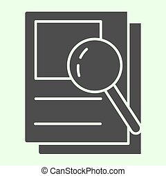 Document search solid icon. Audit Files and loupe on papers glyph style pictogram on white background. Magnifying glass over documents for mobile concept and web design. Vector graphics.