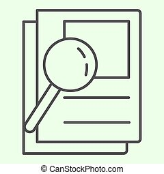 Document search thin line icon. Audit Files and loupe on papers outline style pictogram on white background. Magnifying glass over documents for mobile concept and web design. Vector graphics.