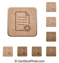 Document setup wooden buttons