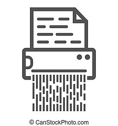 Document shredder line icon, destroy file