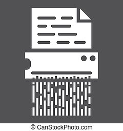 Document shredder solid icon, destroy file