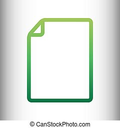 Document sign. Green gradient icon
