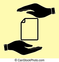 Save or protect symbol by hands. - Document sign. Save or...