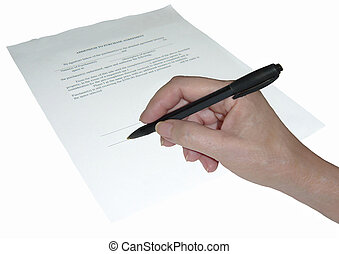 The signing of a binding document.