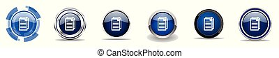 Document silver metallic chrome border vector icons, set of web buttons, round blue signs in eps 10