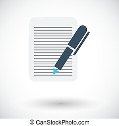 Document. Single flat icon on white background. Vector ...