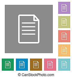 Document square flat icons