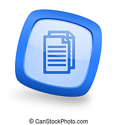 document square glossy blue web design icon
