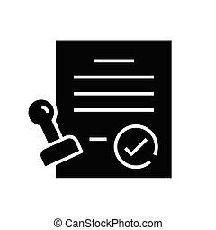 Document stamp black icon, concept illustration, vector flat symbol, glyph sign.
