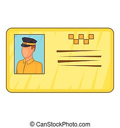 Document taxi driver icon, cartoon style