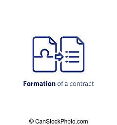 document, termes, accord, création, vecteur, formation, contrat, règlement, conditions, icône