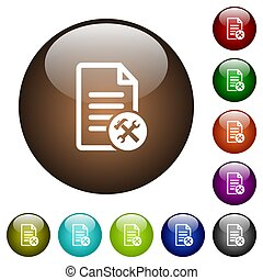 Document tools color glass buttons