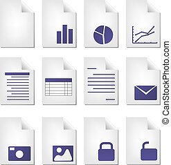 Document types - Document file types icon set clipart ...