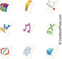 Document types icons set, cartoon style