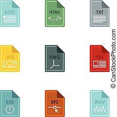 Document types icons set, flat style