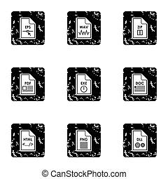 Document types icons set, grunge style