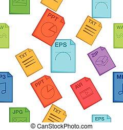 Document types pattern, cartoon style