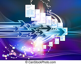 Interplay of document pages and abstract graphic elements on the subject of document processing, office, communications, information sharing and virtual reality