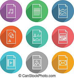 document, vecteur, icônes, ensemble