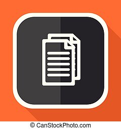 Document vector icon. Flat design square internet gray button on orange background.