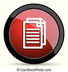 Document vector icon. Modern design red and black glossy web and mobile applications button in eps 10